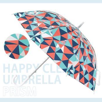 日本 HAPPY CLEAR UMBRELLA PRISM 紅藍 撞色 晴天 雨傘