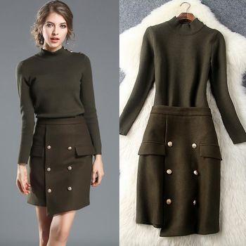 【M2M】純色針織長袖上衣金屬扣飾半裙兩件套