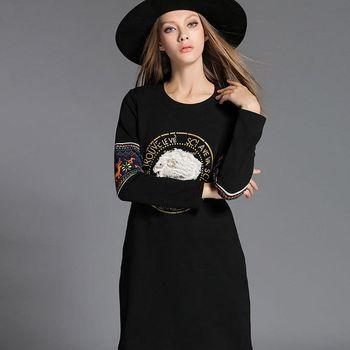 【KVOLL中大尺碼】簡約復古印花圓領洋裝