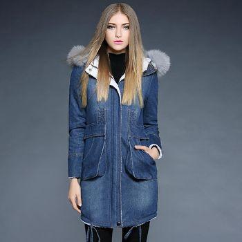 【M2M】時尚保暖牛仔羽絨棉連帽長袖外套