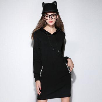 【KVOLL中大尺碼】黑色連帽加厚加絨連衣裙
