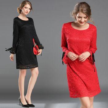 【KVOLL中大尺碼】性感蕾絲袖口綁帶古典洋裝(共二色)