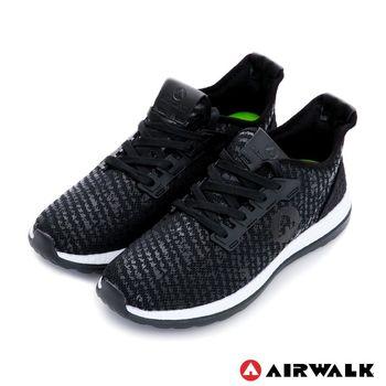 【美國 AIRWALK】破冰 網眼透氣雙層大底輕量運動鞋-男-晶黑