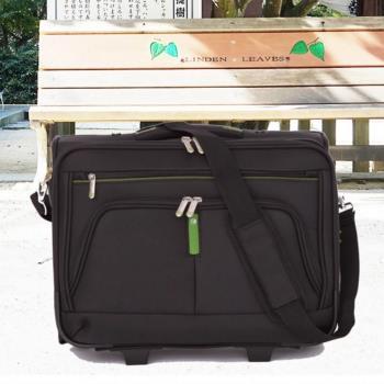 【EMINENT雅仕】16.5吋拉桿公事包 商務包 登機箱(綠條紋V324)