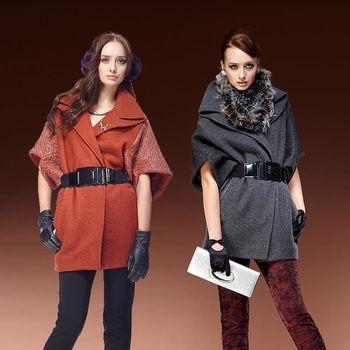 MONS歐洲蕾絲結合毛料造型斗蓬外套(CF1511)