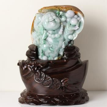 【限量極品】雅紅珠寶 歡喜彌勒佛天然翡翠擺件-彌勒佛,善財童子,如意