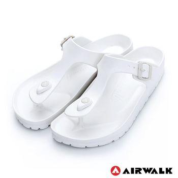 【美國 AIRWALK】AB拖 EVA中性T字羅馬夾腳拖鞋-女-白色
