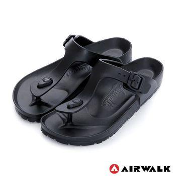 【美國 AIRWALK】AB拖 EVA中性T字羅馬夾腳拖鞋-女-黑色