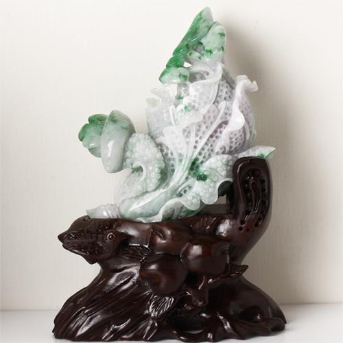 【限量極品】臨水登山天然翡翠玉擺件-金元寶,白菜,如意