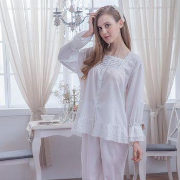 【MFN蜜芬儂】MIT-素雅圖騰100%精梳棉薄長袖睡衣