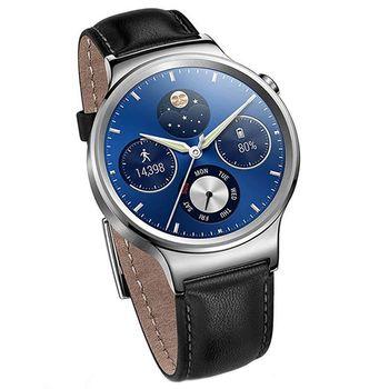 【福利品】Huawei Watch 銀色版搭配黑色真皮錶帶