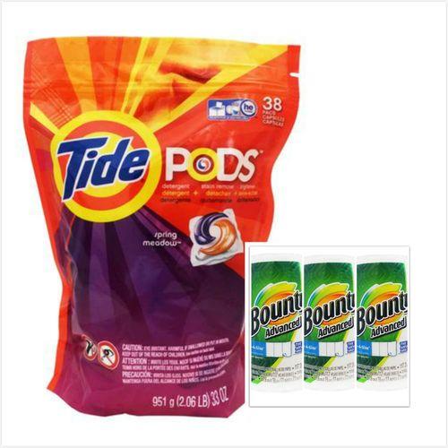 美國原裝Tide Pods汰漬洗衣凝膠球3效合1(38入*2)+【美國 Bounty】萬用廚房紙巾(117張*3捲)