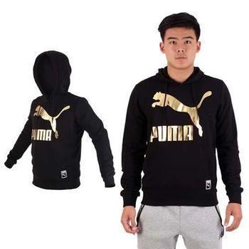 【PUMA】男流行系列GOLD連帽長厚T恤-運動 休閒 慢跑 路跑 黑金