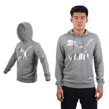 【PUMA】男流行系列GOLD連帽長厚T恤-運動 休閒 慢跑 路跑 灰銀