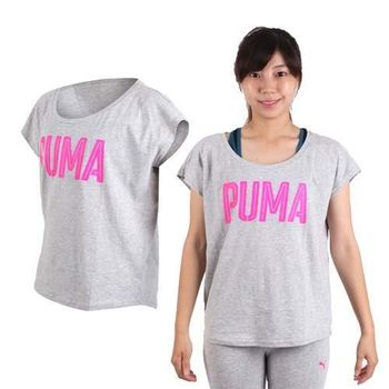 【PUMA】女基本系列短袖T恤 -短T 灰桃紅
