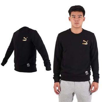 【PUMA】男流行系列GOLD長袖圓領衫-運動 休閒 慢跑 路跑 T恤 黑金