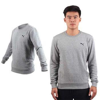 【PUMA】男長袖素色小豹圓領衫-保暖 刷毛 運動 休閒 慢跑 路跑 T恤 灰黑