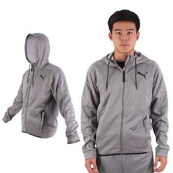 【PUMA】男訓練系列刷毛連帽外套-保暖 慢跑 路跑 運動 灰黑