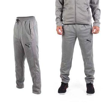 【PUMA】男訓練系列刷毛運動長褲-保暖 慢跑 路跑 灰