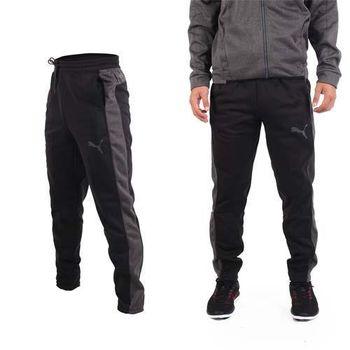 【PUMA】男訓練系列刷毛運動長褲-保暖 慢跑 路跑 黑灰