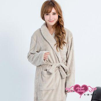 天使霓裳 保暖睡袍 法式甜心 柔軟珊瑚絨一件式綁帶連身睡衣(淺灰F)