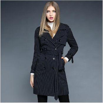(現貨+預購 RN-girls)-歐美秋裝新品大翻領條紋雙排扣百搭風衣外套