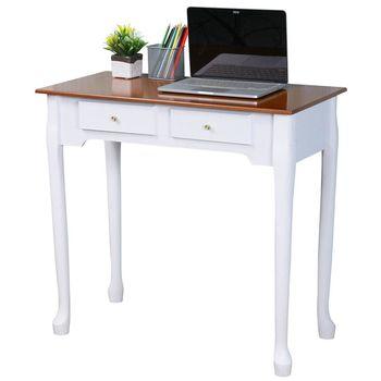 Homelike 維亞歐風二抽書桌-橡木+白色
