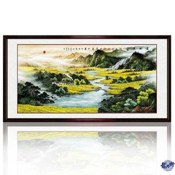 【龍吟軒】招財風水 滿地黃金 聚寶盆山水畫(無畫框)