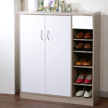【澄境】對開式附門半開放六層鞋櫃 -二色可選
