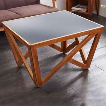【澄境】實木美學時尚造型桌腳+強化玻璃茶几桌(中)
