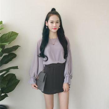 。DearBaby。韓版甜美女孩 綁帶袖口質感三件式雪紡套裝裙組-黑色(預購)