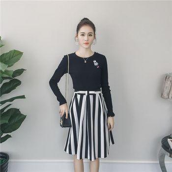 。DearBaby。韓版質感黑白直紋A字裙顯瘦二件式套裝組(預購)