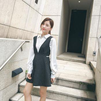 。DearBaby。韓版氣質個性風 顯瘦直紋圓弧裙襬連身背心裙-共二色(預購)
