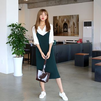 *MurMur~*韓國空運。韓風少女細肩帶寬鬆吊帶裙-(預購)