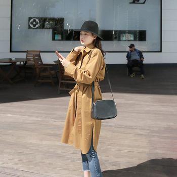 *MurMur~*韓國空運。甜姐兒翻領綁腰側開衩長版外套-(預購)
