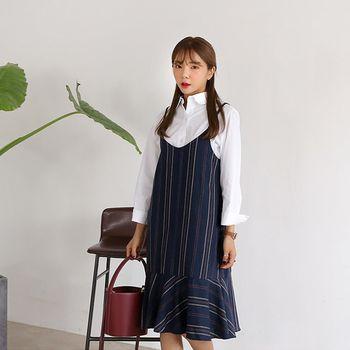 *MurMur~*韓國空運。梨花學院風條紋魚尾裙擺吊帶裙-(預購)