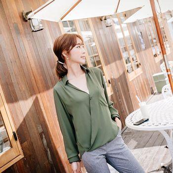 *MurMur~*韓國空運。名模時尚必備翻領深V長袖上衣-(預購)