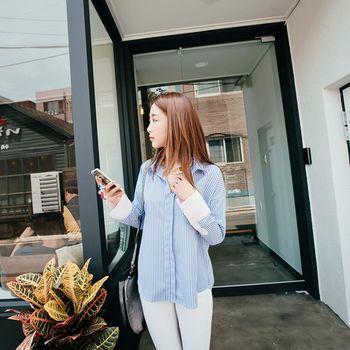 *MurMur~*韓國空運。質感挺版經典直條紋造型袖口襯衫-(預購)