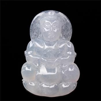 【限量極品】雅紅珠寶-法相莊嚴天然冰種白翡翠玉項鍊-觀世音菩薩