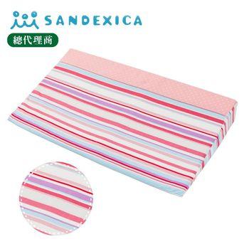 台灣總代理 日本Sandexica寶寶防吐奶枕/孕婦托腹枕 - 粉紫條紋