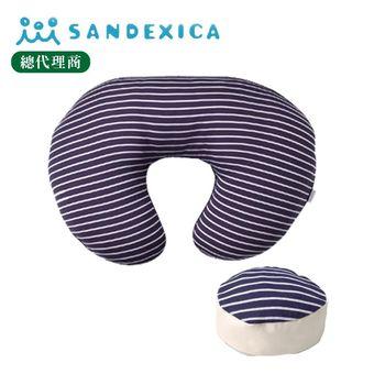 台灣總代理 日本Sandexica【母嬰兩用枕】多功能哺乳枕/寶寶學坐枕-子母枕 - 藍色條紋