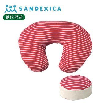 台灣總代理 日本Sandexica【母嬰兩用枕】多功能哺乳枕/寶寶學坐枕-子母枕 - 紅色條紋