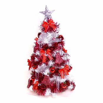 台灣製夢幻2尺/2呎(60cm)經典白色聖誕樹(紅色系裝飾)