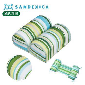 台灣總代理 日本Sandexica寶寶機能防側翻枕/兒童護頸枕- 藍綠條紋