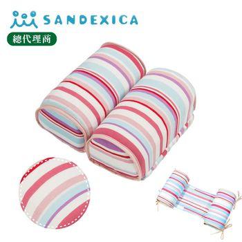 台灣總代理 日本Sandexica寶寶機能防側翻枕/兒童護頸枕- 粉紫條紋