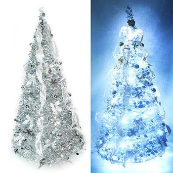 6尺/6呎(180cm) 浪漫裝飾彈簧摺疊聖誕樹(雙銀色系)(內含一串LED100燈串)