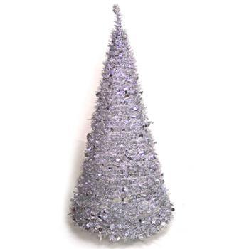 6尺/6呎(180cm) 創意彈簧摺疊聖誕樹 (銀色系)
