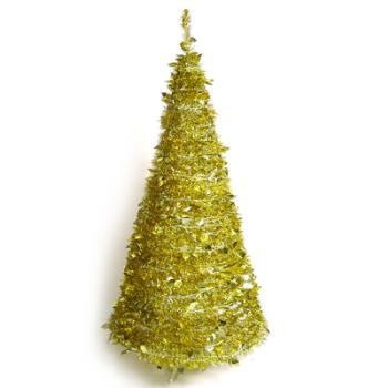 6尺/6呎(180cm) 創意彈簧摺疊聖誕樹 (金色系)