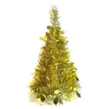 2尺/2呎(60cm) 創意彈簧摺疊聖誕樹 (金色系)