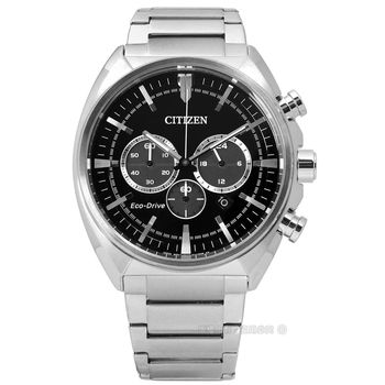 CITIZEN 星辰表★贈皮錶帶 / CA4280-53E / 尊爵雅緻計時光動能不鏽鋼手錶 黑色 43mm
